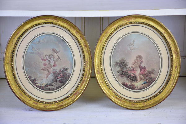 A pair of 19th century French paintings in oval frames