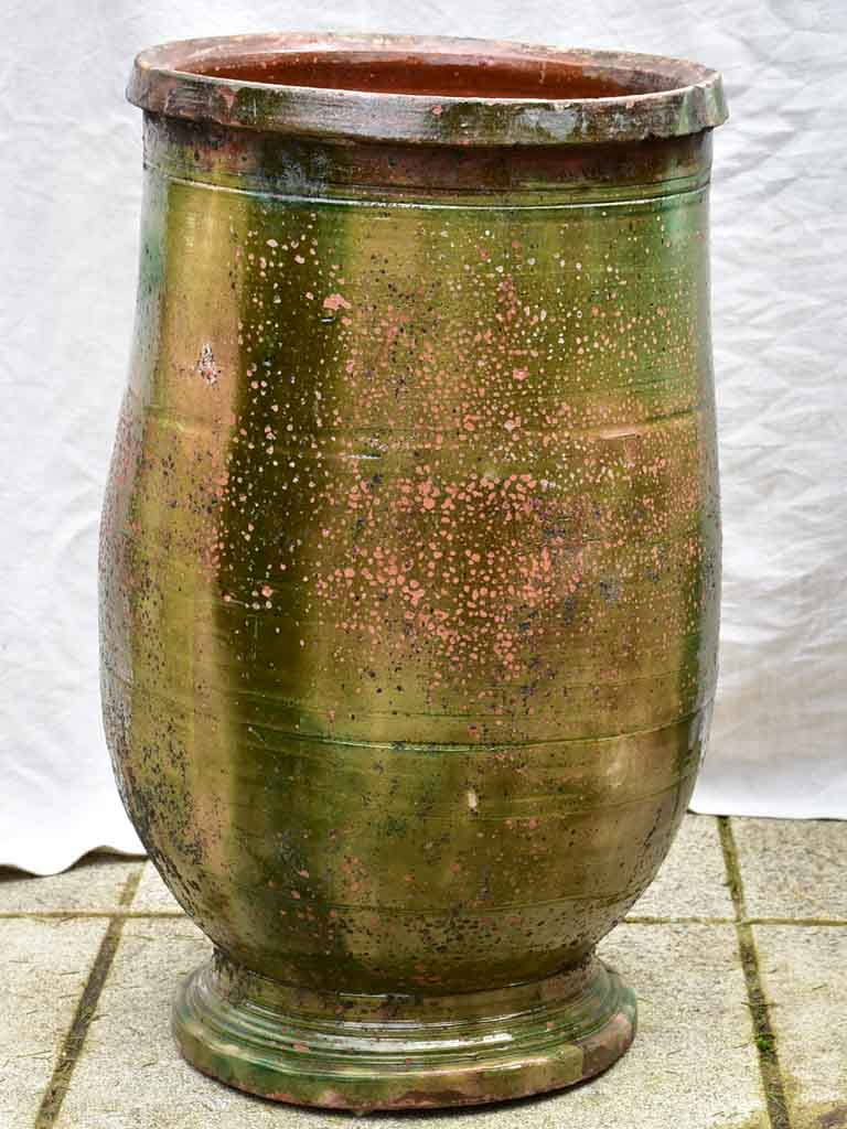 19th Century Anduze olive jar with green glaze - medium 28¼""