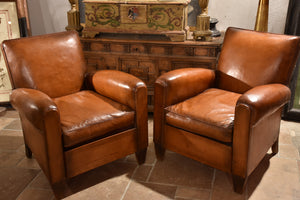 Pair of original French club chairs - 1950's