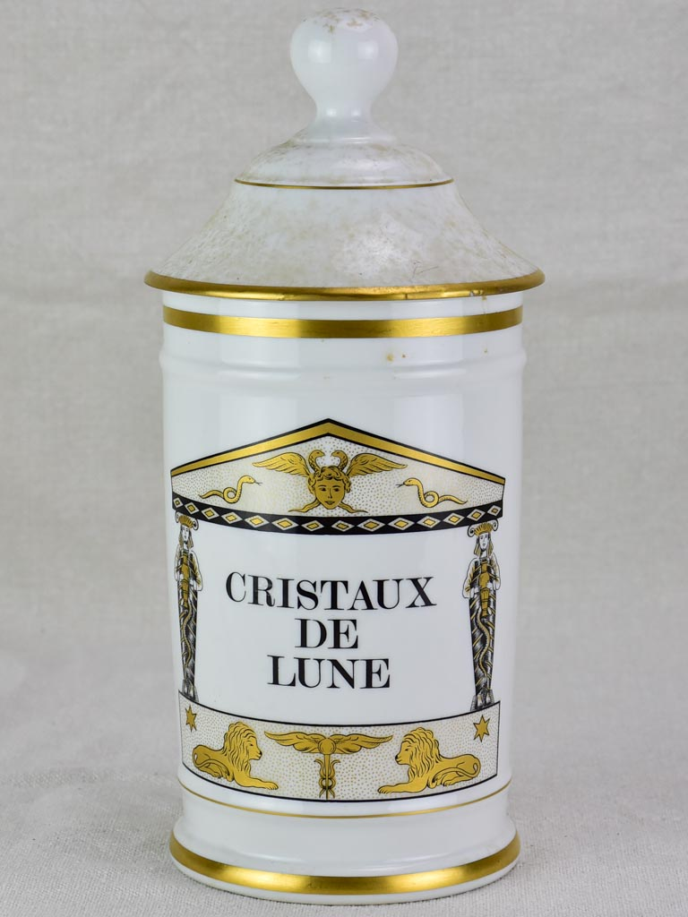 Antique French Limoges apothecary jar with lid - Cristaux de lune 11""