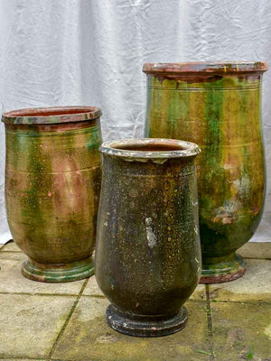 Collection of three 19th Century olive jars with green glaze