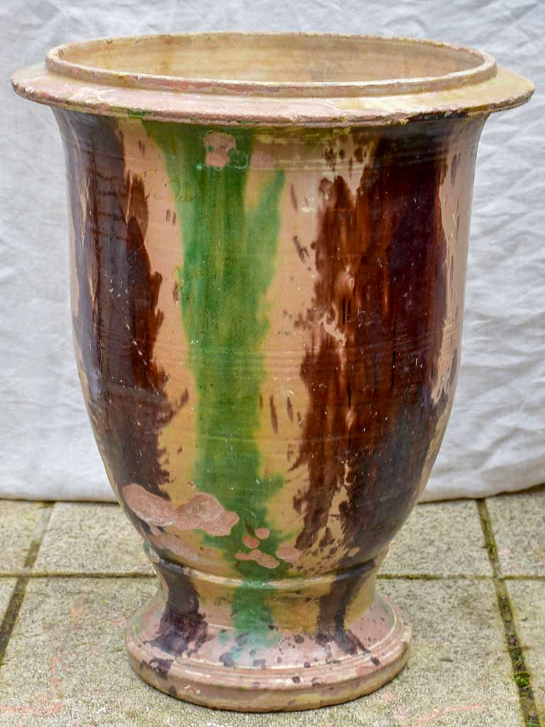 Small 19th Century French Anduze garden urn - flame glazed 22¾""