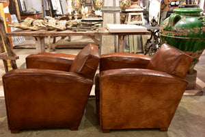 Pair of French leather club chairs - 1950's
