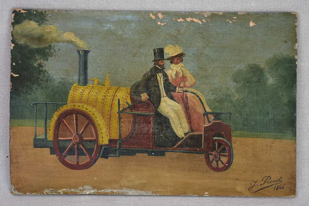"Antique French painting of a couple in a nineteenth-century car 9"" x 13¾"""