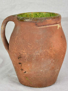 19th century French pitcher with green glaze inside 8""