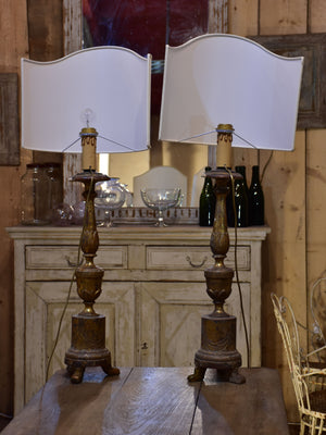 Pair of 19th century Italian candlestick lamps