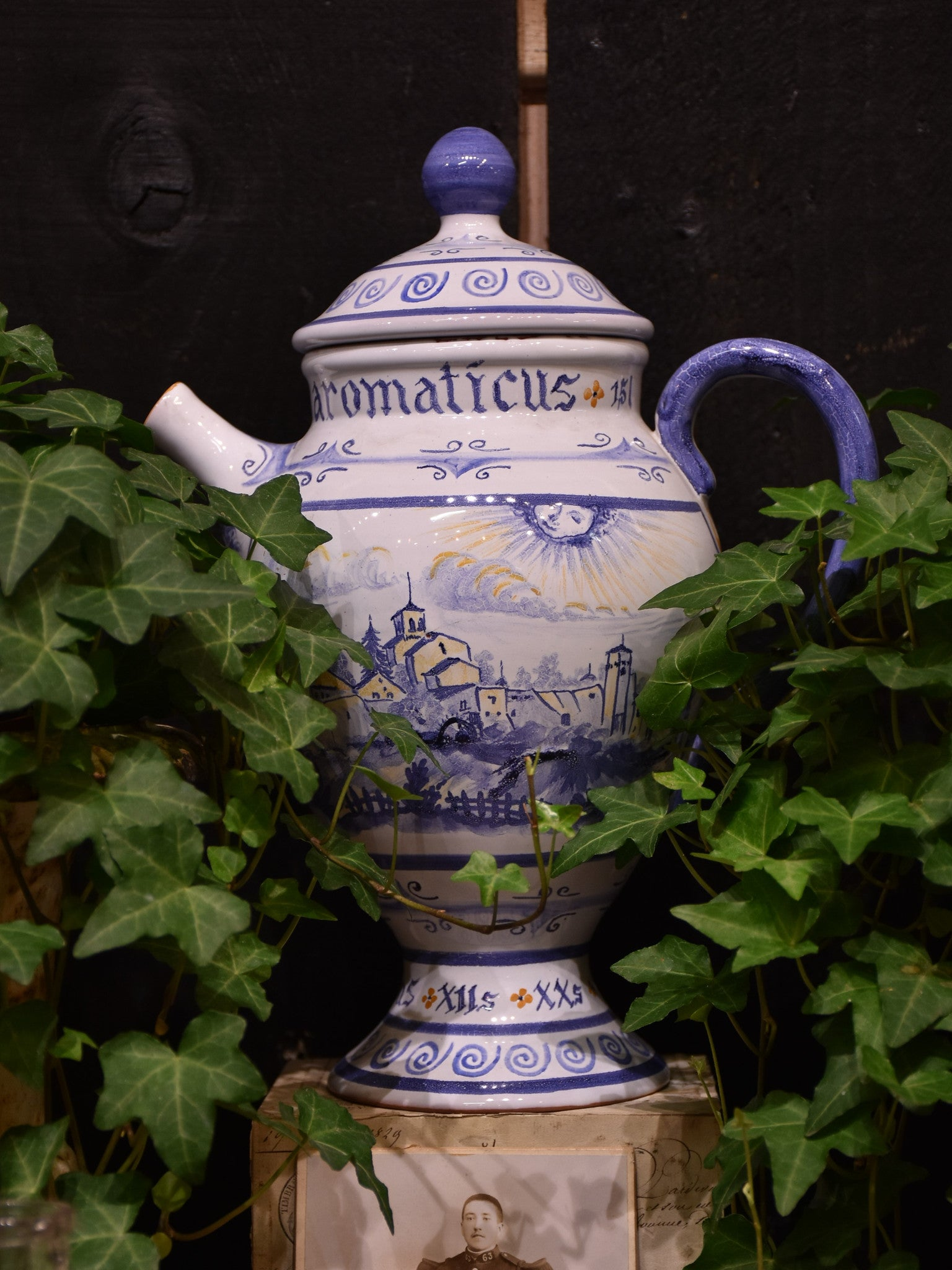 Vintage blue and white French apothecary jug