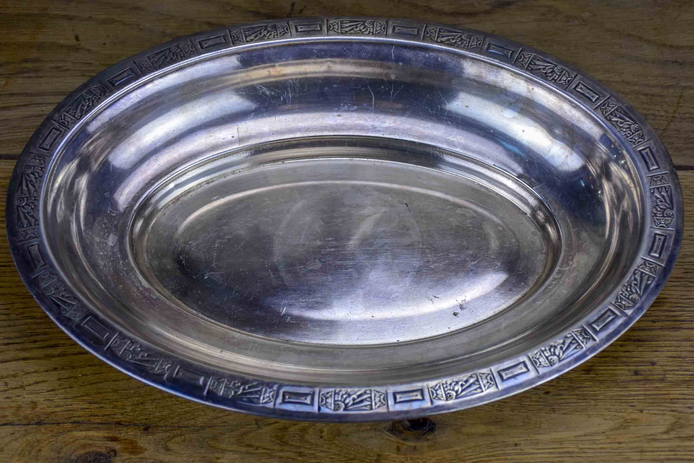 Antique French silver serving dish
