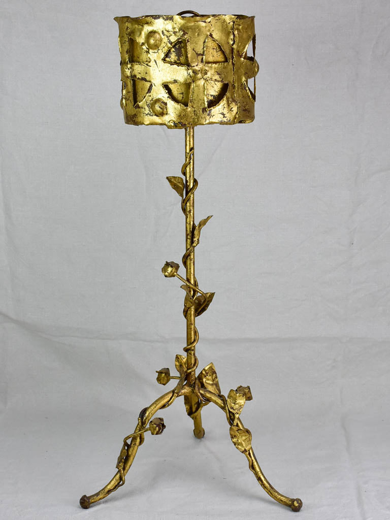 Mid century French baroque jardiniere/ plant stand with gold patina and rose motifs