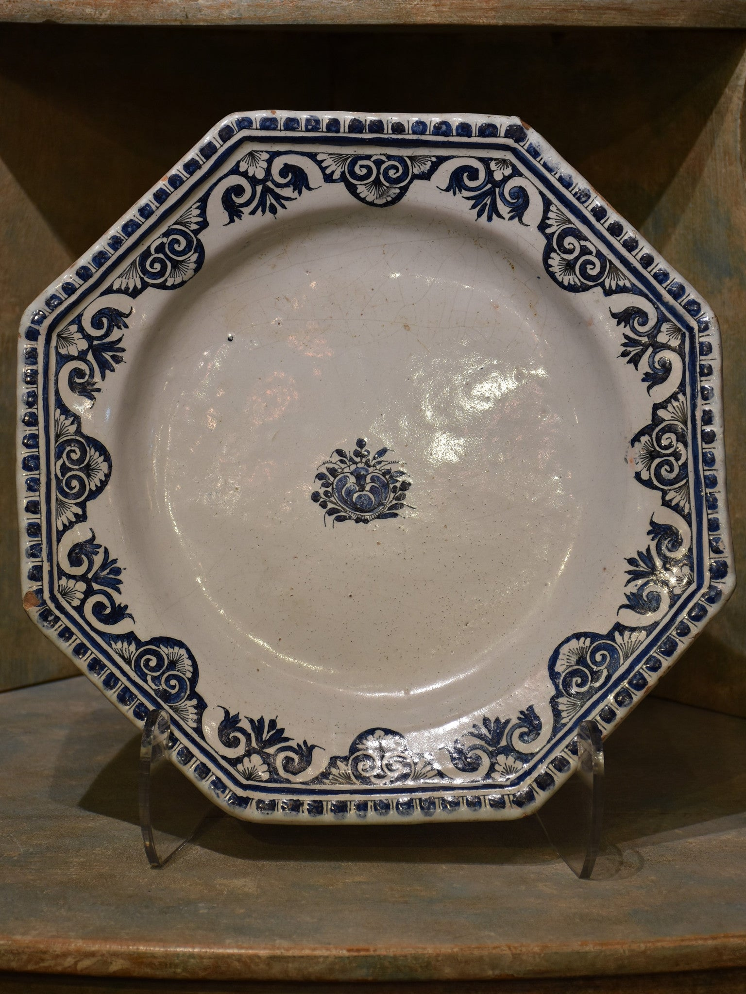 Blue and white early 19th century octagonal earthenware plate – Rouen Faience