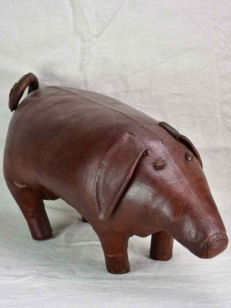 Mid century Spanish leather foot rest - pig