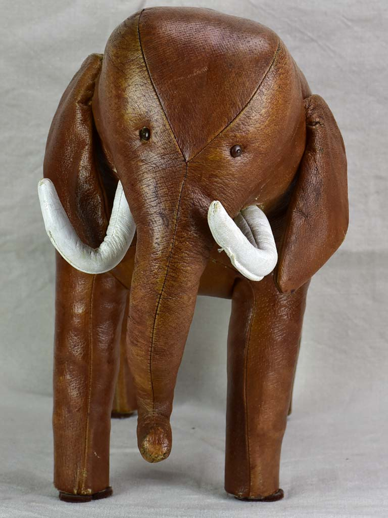Mid century Spanish leather foot rest - elephant