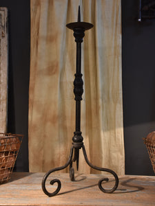 Antique French wrought iron pique cierge – church candlestick