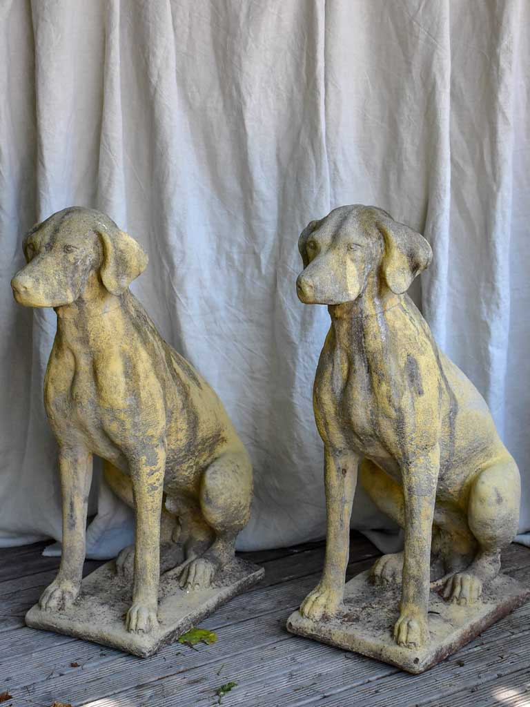 Pair of garden sculptures of dogs - 1950s