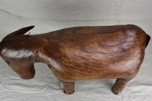 Mid century Spanish leather foot rest - donkey
