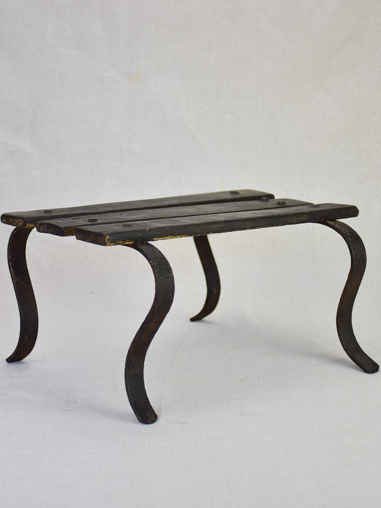Antique French footstool - iron and wood