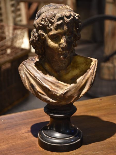 Antique bust mounted on black marble base – 19th century