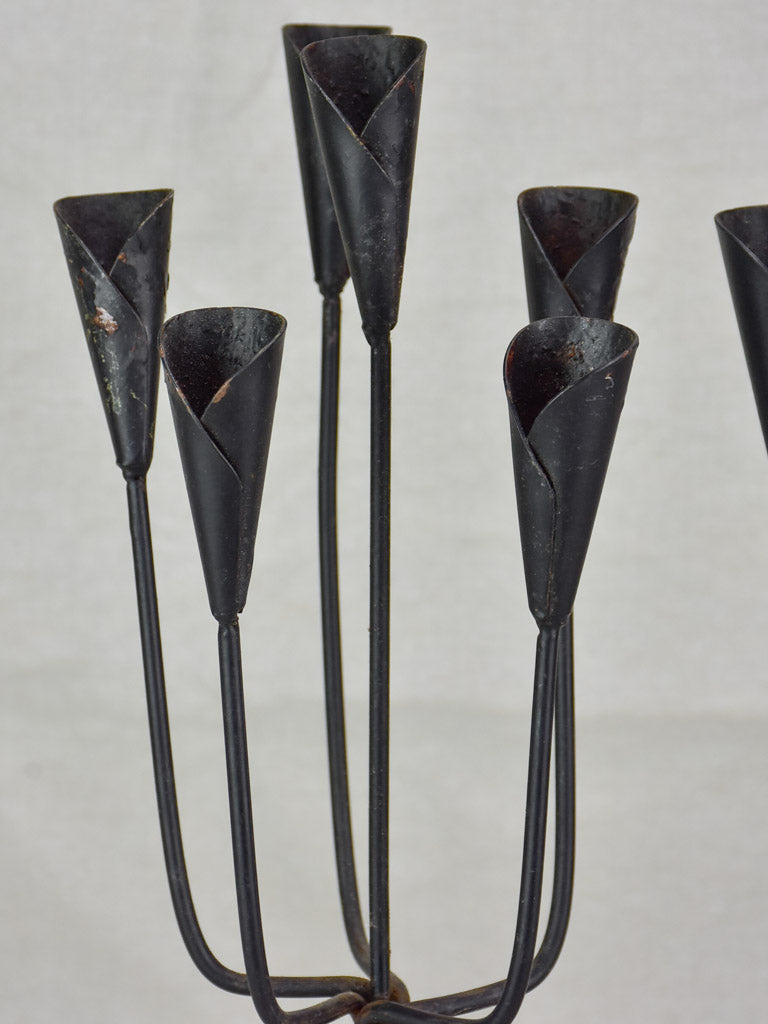 Pair of iron candlesticks - six candles 17""