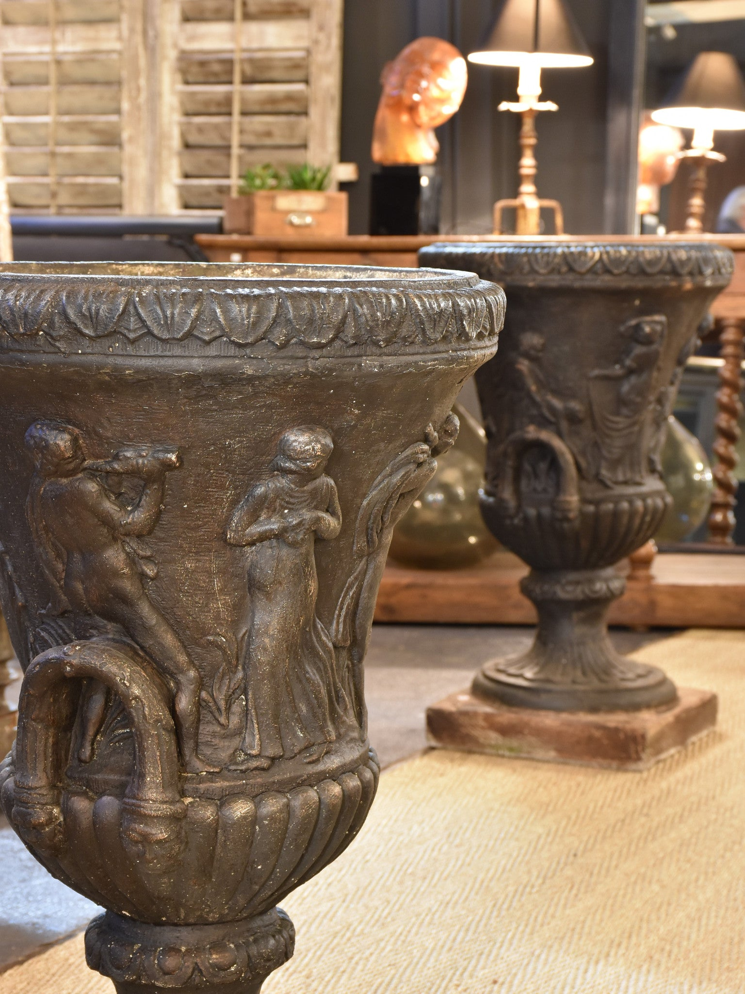 Pair of large French Medici urns on square base – 33""