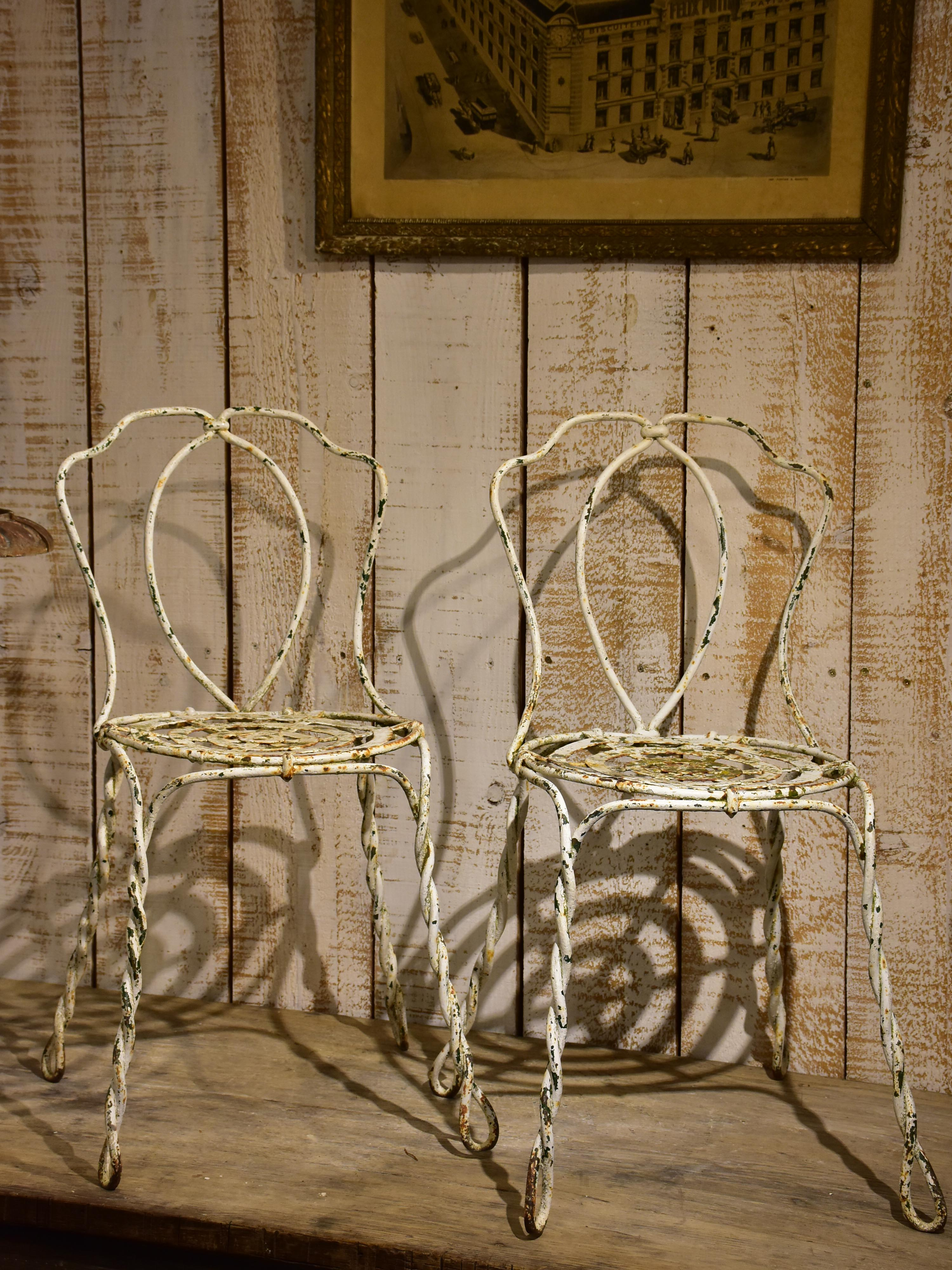 Pair of antique French garden chairs