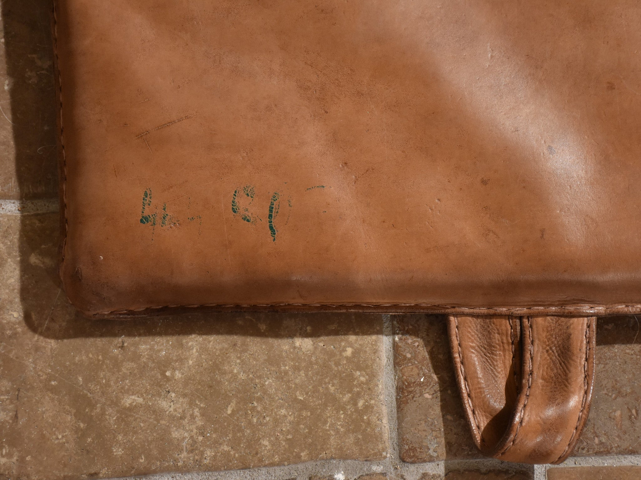 Late 1950's French leather gym mat 1/2