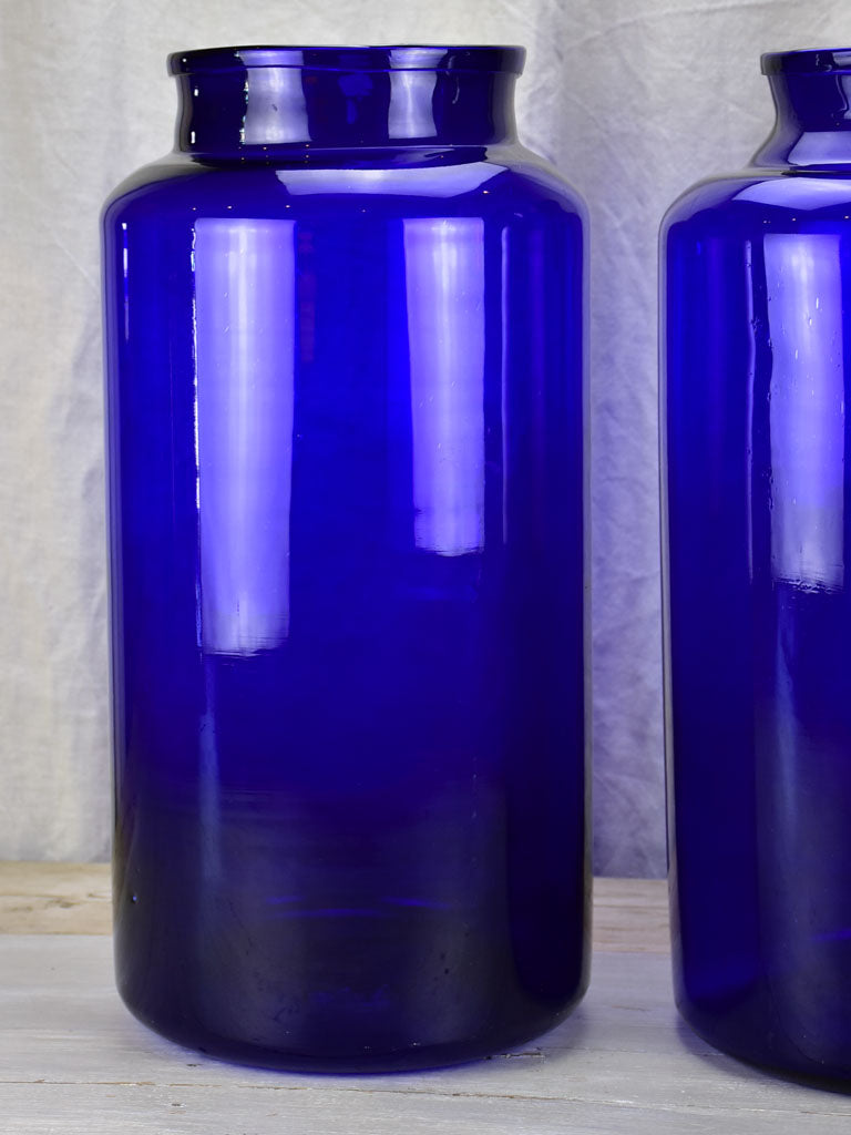 Pair of very large cobalt blue glass jars