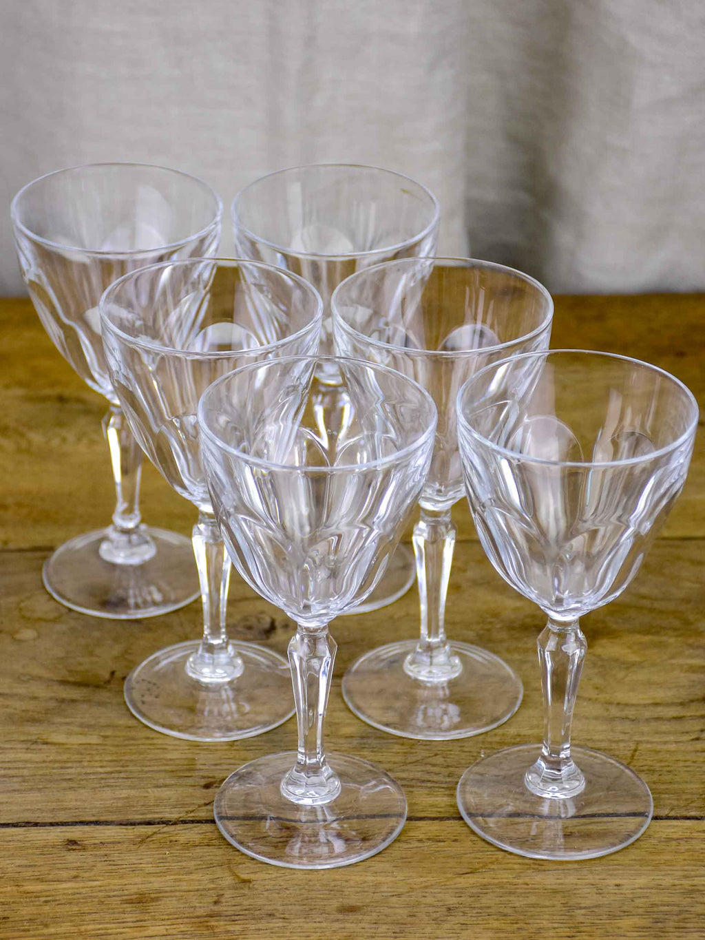 Six classic antique French wine glasses