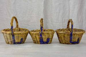 Two  antique French raspberry baskets
