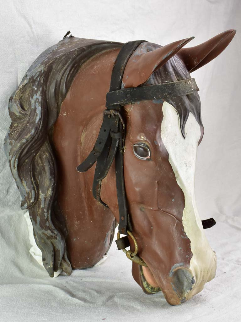 Life-size antique French horse head - zinc with leather bridle