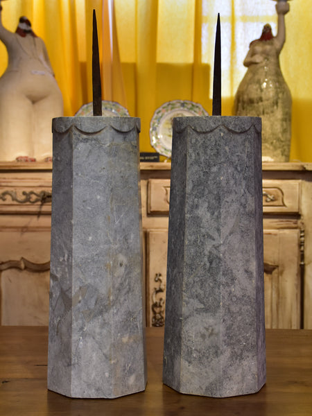 Pair of extra-large stone candle holders