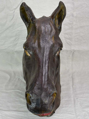 Life-size antique French paper mache horse head