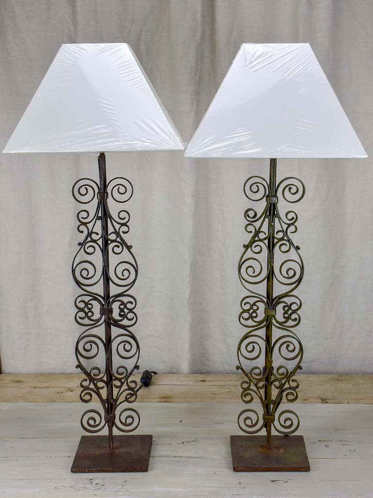 Pair of French table lamps made from architectural salvaged balusters