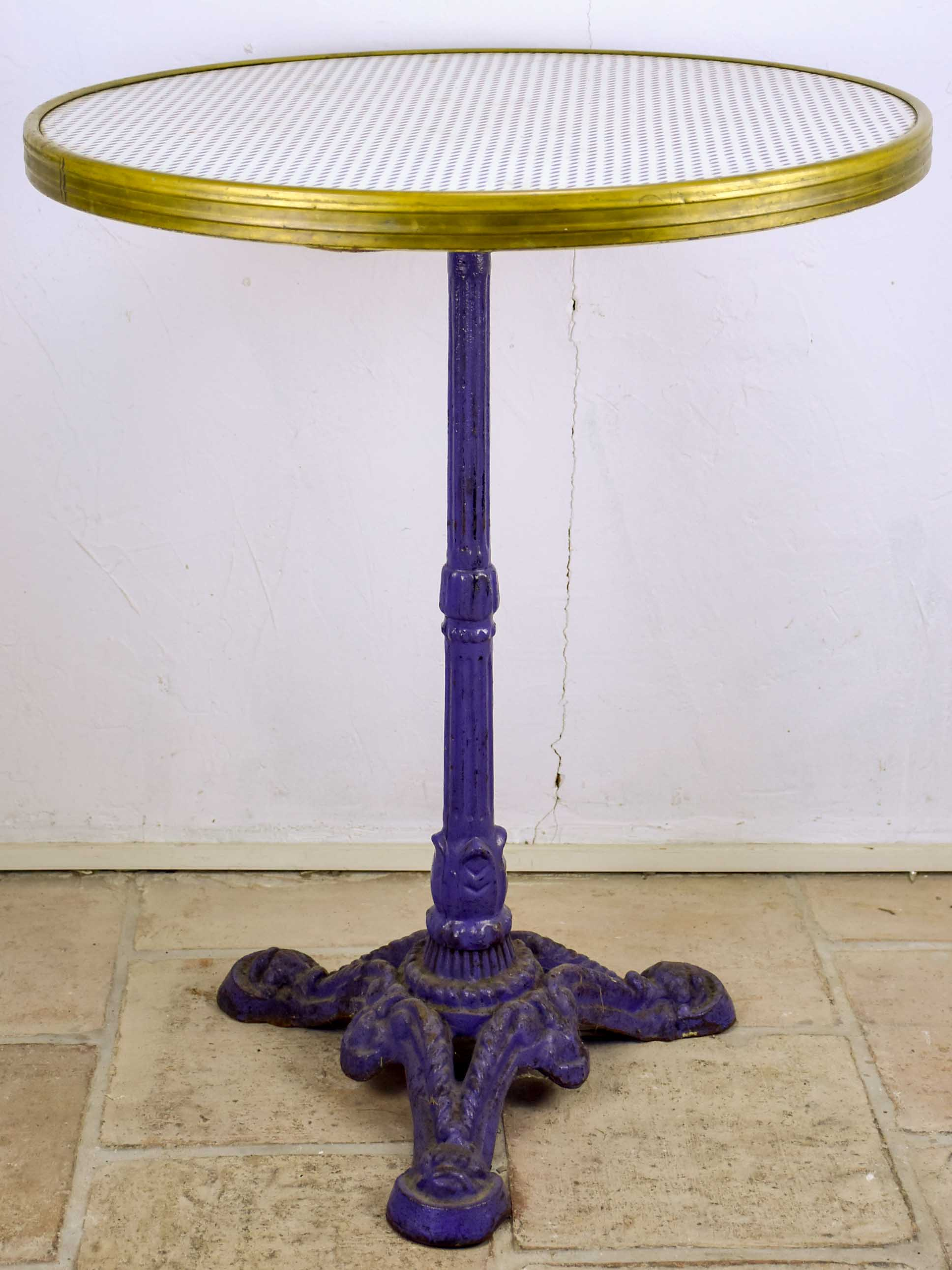 Vintage French bistro table with blue cast iron base