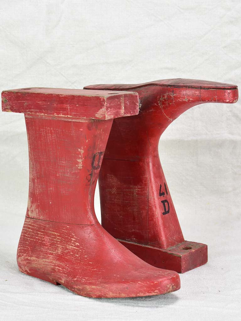 Antique French wooden boot molds - red