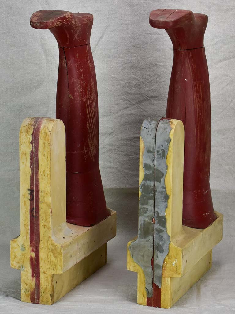 Large antique French wooden boot molds - red