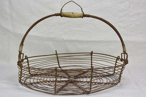 Large antique French wire harvest basket 19¼""