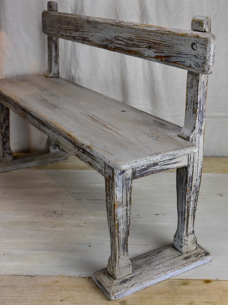 Antique French children's bench with grey patina
