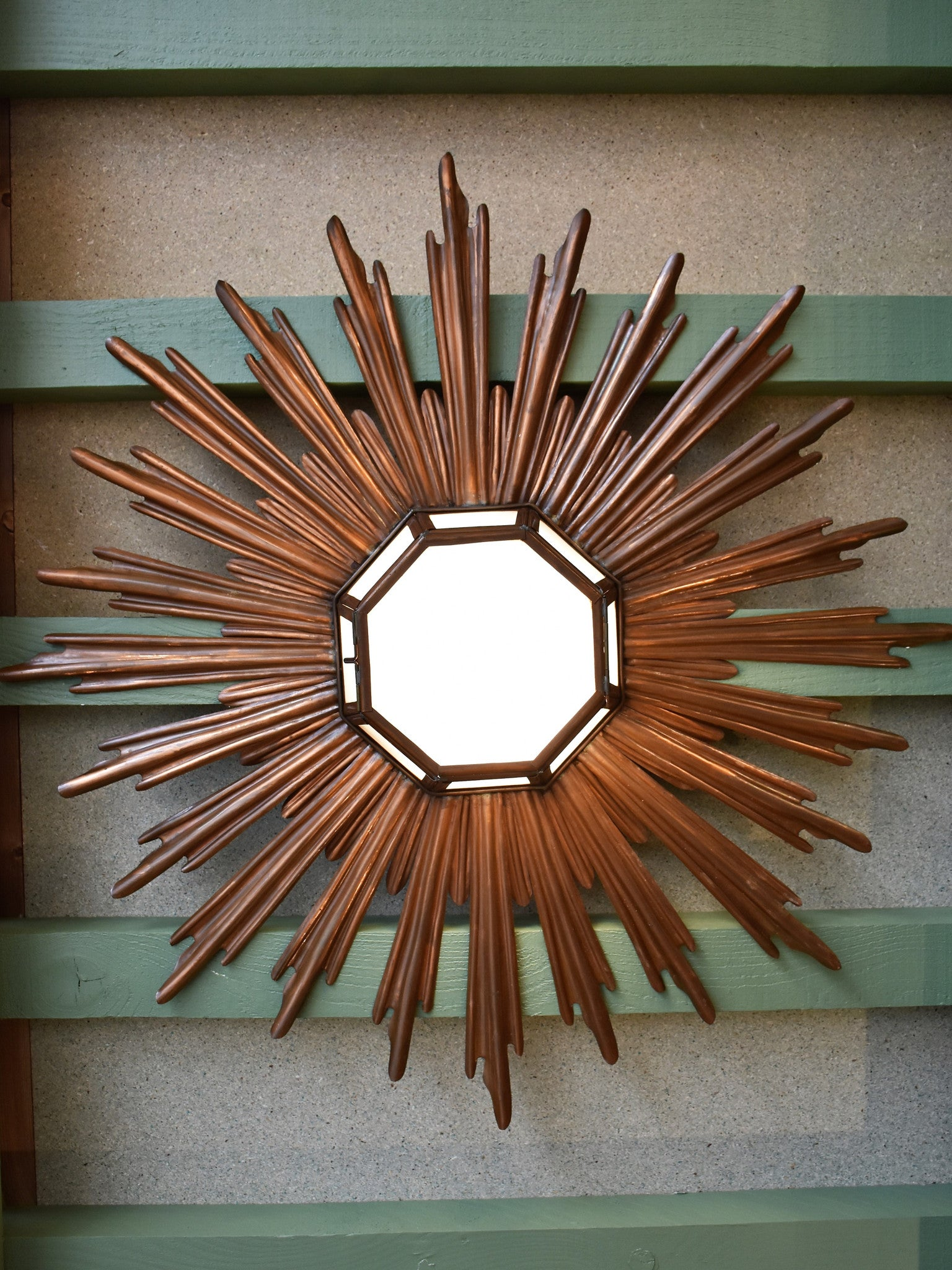 Mid-century sunburst ceiling light - opaline and brass