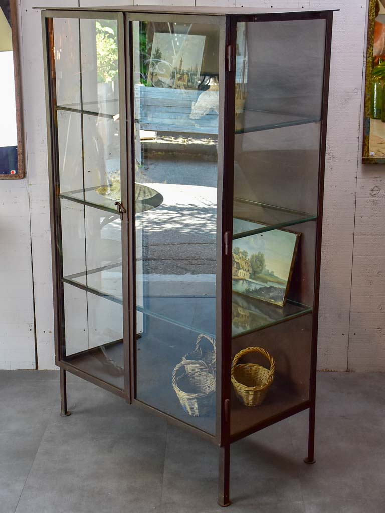 Vintage industrial glass book case / shelving vitrine