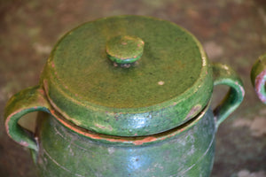 Pair of green glazed French preserving jars with lids