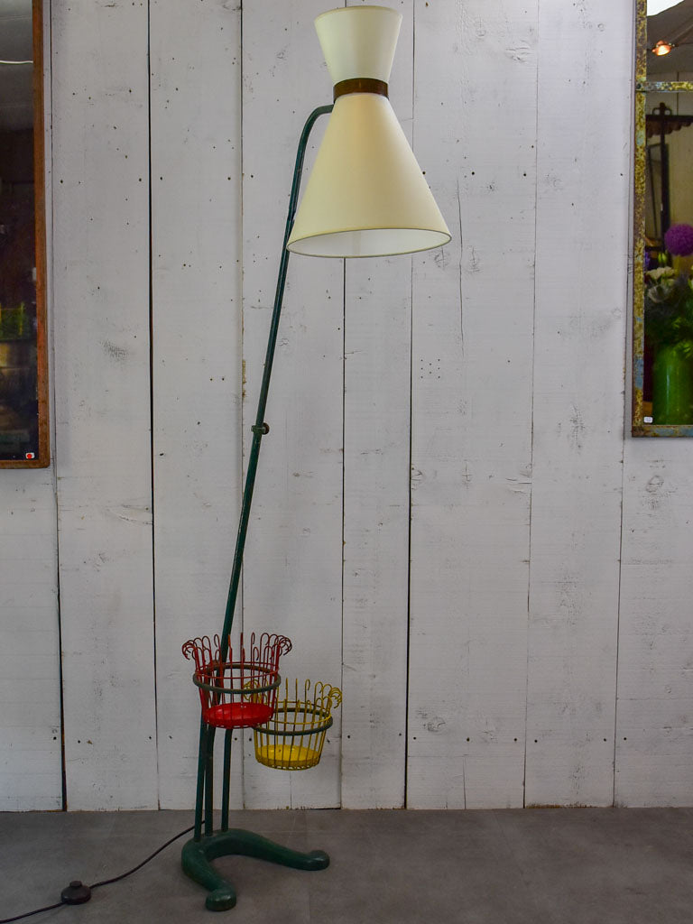 Mid century French floor lamp with pot plant stands