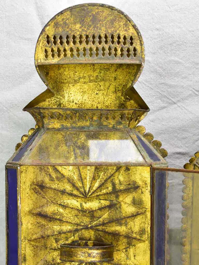 Two antique gold, red and blue wall lanterns 18½