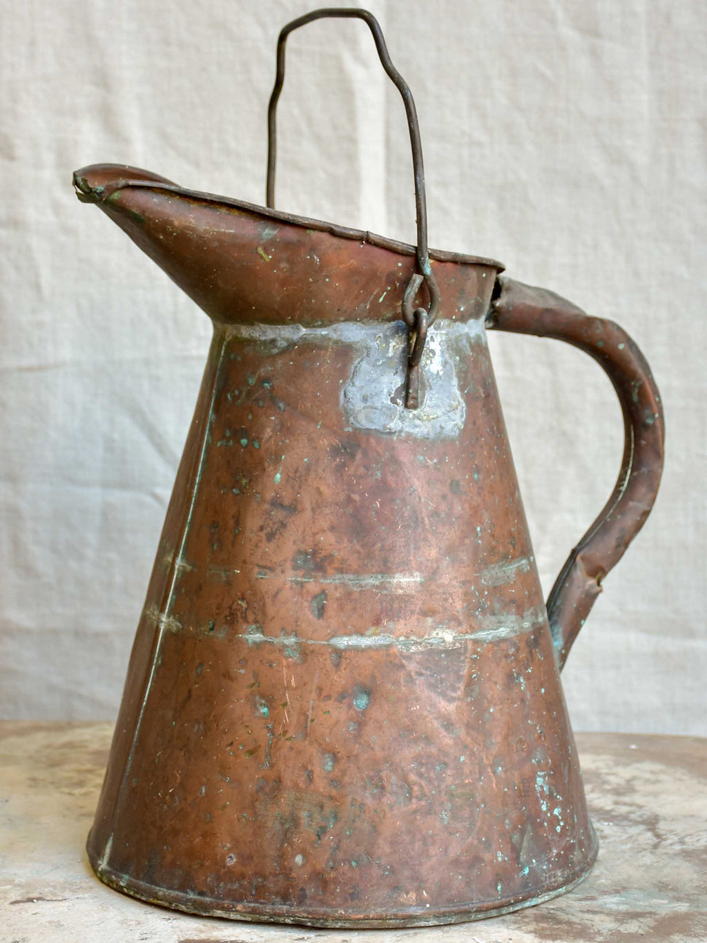 Rustic antique French copper watering can