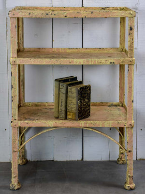Antique French industrial shelving unit