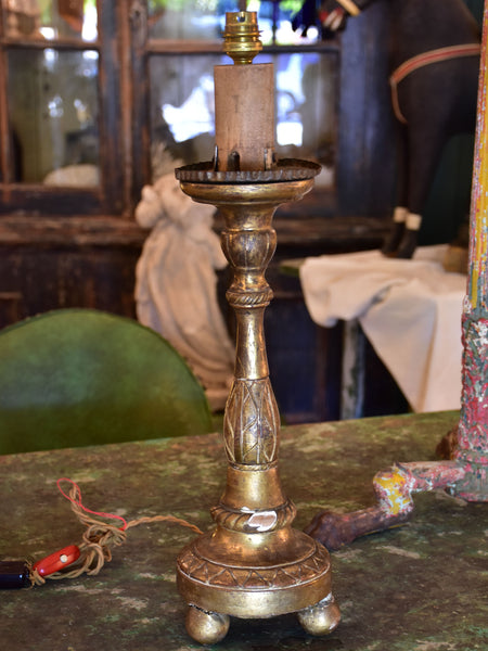 19th century French candlestick lamp base