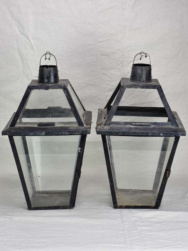 Pair of large antique French lanterns 21¼""