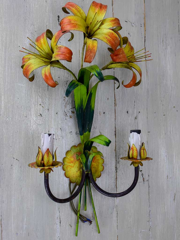 Three mid century lily wall appliques