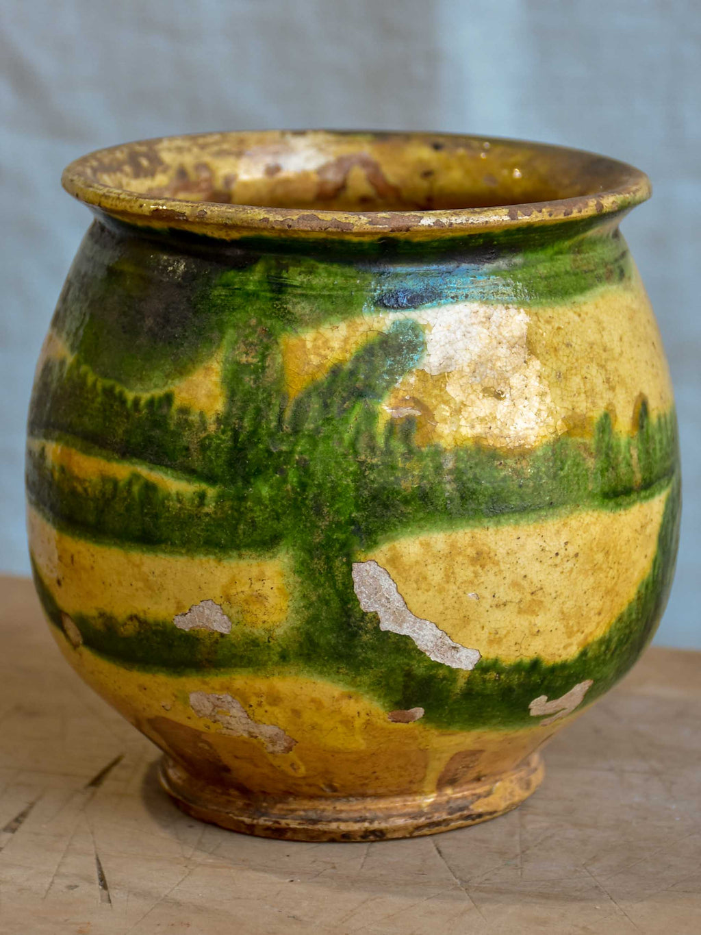 Antique French honey pot with green and yellow glaze