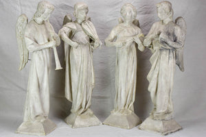 Original Camille Lefèvre (1853–1933) sculptures of four angels playing music - signed 30""