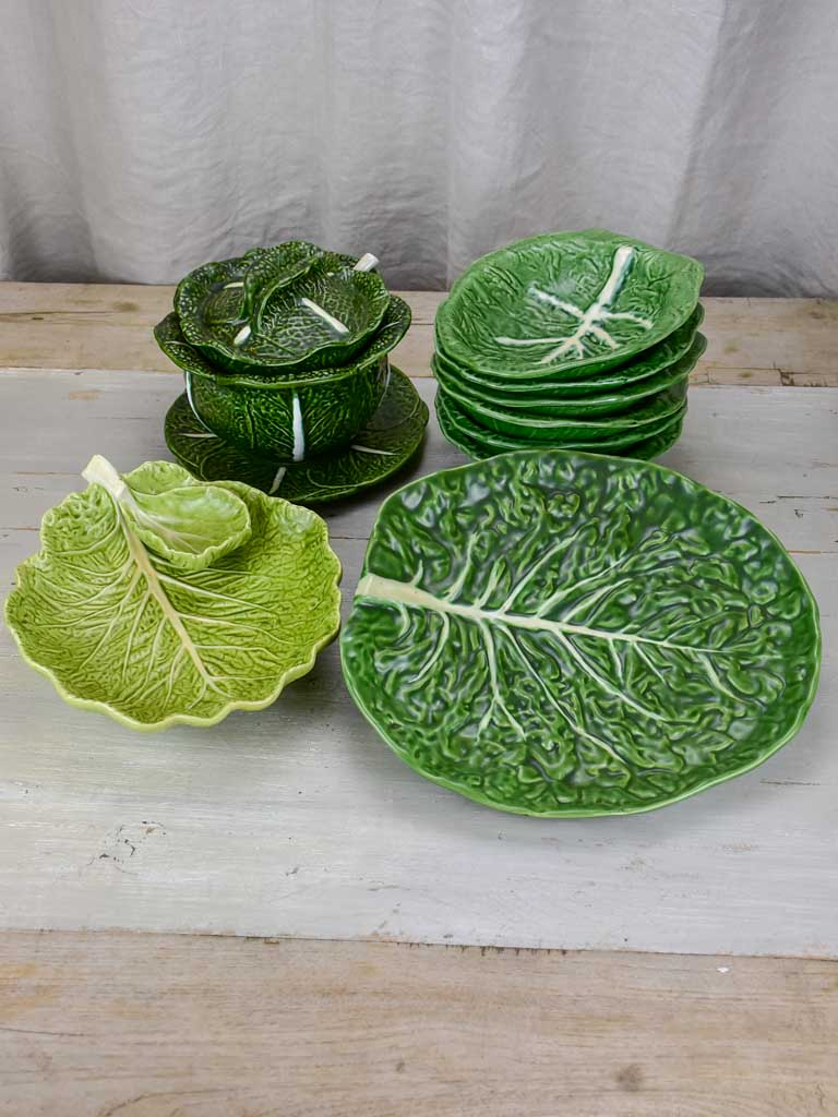 Collection Of Vintage Cabbage Leaf Plates Platters And Soup Tureen